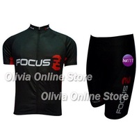 2012 Focus black Short Sleeve Cycling Jersey And Shorts,cycling wear S~XXXL