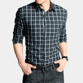 Free Shipping New Mens Shirts Casual Slim Fit Stylish Shirts green plaid shirts fashion Size:M,L,XL,XXL,XXXL M222