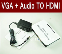 free shipping VGA to HDMI converter adapter,vga+audio to hdmi HD HDTV Video Converter Box wwith power adapter