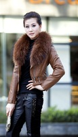 (AD10330)-Spring clothes Women's PU leather jacket with Raccoon Dog fur collar/short coat/ black brown