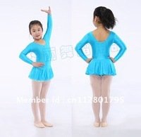 Free Shipping!Blue long sleeved TUTU Ballet Leotard Fairy Dress SZ3-10