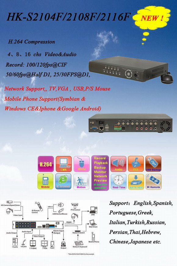 4Ch H.264 Network DVR Standalone DVR HK-S2104F 3G Mobile Phone Support Symbian &Windows CE&Iphone &Google Android Mouse VGA(China (Mainland))
