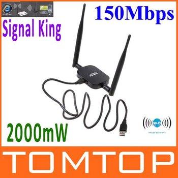 Alta potência do sinal Rei 2000MW 48DBI USB Adaptador Wireless SignalKing 999WN Wifi Antena 150Mbps Ralink 3070 , Frete Grátis !