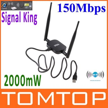 High Power Signal King   2000mW  48DBI USB Wireless Adaptor  SignalKing 999WN Wifi Antenna 150Mbps  Ralink 3070  ,Free Shipping!