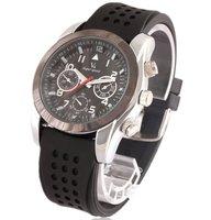 Men's 6 Hand Black Silicone Watch Band Sports Wrist Quartz Watch Boys Xmas Gift Free Ship