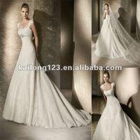 Popular A-line Beaded Empire Waist Scalloped Lace Cap Sleeve Wedding Dress