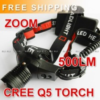 FREE SHIPPING 500 lumen CREE Q5 LED Adjustable Zoomable 3 mode Headlamp head Light Torch 1PCS NEW
