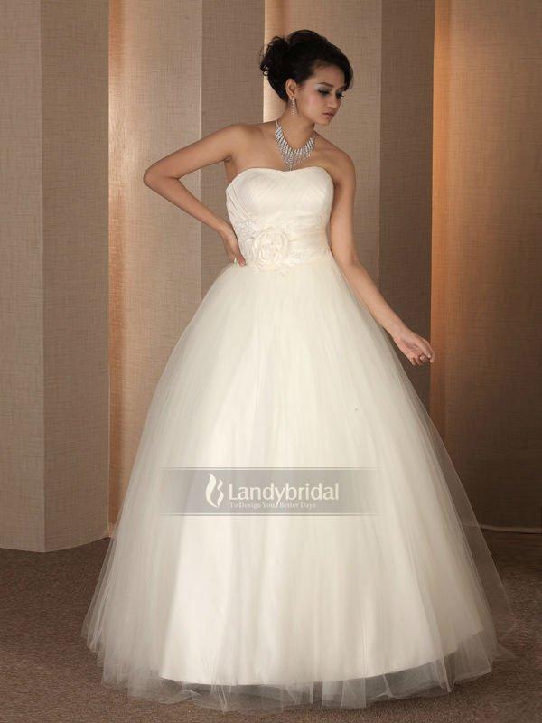 Elegance Strapless Bow Sash Bodice Gossamer Tulle Skirt Ball Gown Wedding Dress In Wedding