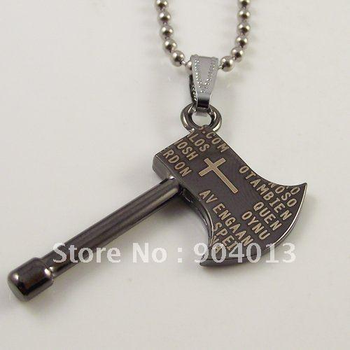 10pcs Stainless Steel Bible Cross Pendant  Black Bible Chopper Men Necklace Titanium Steel Short Cross Pendant Free Shipping