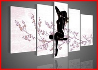 Framed 5 Panel Large Black and White Nude Oil Painting Wall Art Modern Sex Naked Girls Picture XD00354