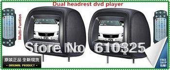 "Hot Sale 7""Headrest Car Monitor Headrest Car DVD Player Game USB SD IR FM For Retail/Pair Free Shipping"
