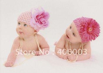 free shipping wholesale 24pcs/lot waffle crochet beanie hat baby newborn infant toddler