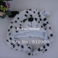 Free shipping, Wholesale Animal brown Dalmatians Cartoon Cute Hat Fluffy Plush Hat Cap