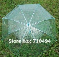 free DHL shipping blue transparent umbrella, blue clear umbrella, auto open, custom logo print acceptable