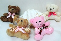Promotional gift plush toys doll bear with ribbon bow for birthday wedding gift keychain 9cm color assorted