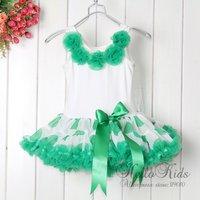 2012 New Ball Gown Knee-Length Flowers Girl Dress Green Dot Pettidress Kids dress 1-6Y Tutu Dresses Tutu Dress Children's Wear
