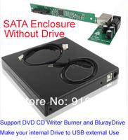 Free shipping! USB SATA Laptop Notebook CD DVD RW Burner ROM Drive External Case Enclosure Caddy