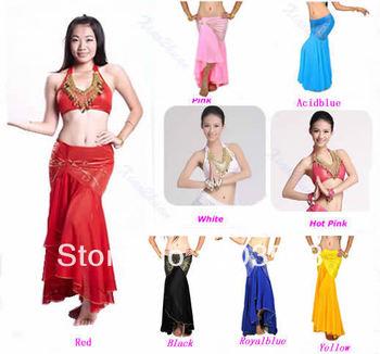 Belly Dance Costume Dancing Dancewear 8 Colors Top Bra + Mermaid Fishtail Skirt