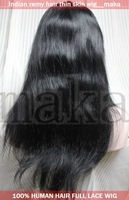 Thin skin 18''   1 jet black Silk straight beautiful full lace wig 18inch 100% human Indian indic remy wigs