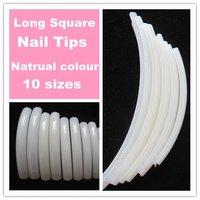 Free shipping--10pcs Professional Square French Long Curve Salon Nail Tips Natrual Colour