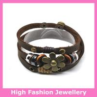 E3005 fashion leather bracelets with alloy charms,genuine cow leather tribal jewellery,handmade ladies' wrap bracelet 12pcs/lot
