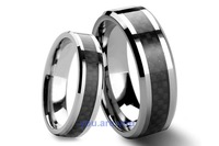 2pcs 8MM & 5MM BLACK FIBER INALY BEZEL EDGE SOLID CARBIDE TUNGSTEN WEDDING BANDS COUPE RINGS