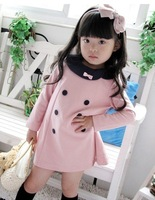 Free shipping ! Baby girl dress children dress long sleeve dress blue and pink color( have thin and thick material)