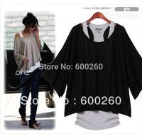 Free shipping Fashion Women's Leisure Loose Bat Batwing Three Quarter  Sleeve Vest + T-Shirt 2Pcs Set 3 colors