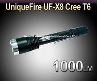 Free shipping, New UniqueFire UF-X8  Flashlight CREE XM-L T6 LED Torch 1000Lumens  High Brightness 5-Mode Led Flashlight Torch