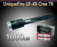 Free shipping,UniqueFire UF-X8  Flashlight CREE XM-L T6 LED Torch 1000Lumens + 2pcs 18650 3000mAh 3.7v  Batteries+charger