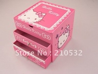 Free Shipping Cute Hello Kitty mini jewelry Caskets Trinket Boxes carton case pink best gift for girl