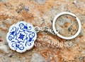 20pcs/lot free shipping Chinese blue and white porcelain keychain/key rings key accessories (no retail packing)