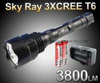 Sky Ray 3*T6 3800Lumens 5-Mode Memory LED Flashlight Torch+2x 18650 3000mah battery+AC charger