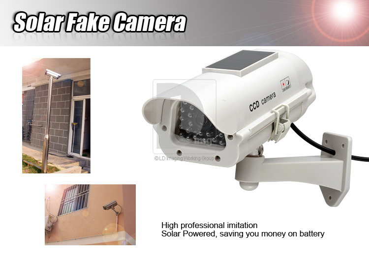 Solar Power Dummy Fake Security CCTV CCD Camera Surveillance RED LED Light Pro Outdoor ESC43 free shipping(China (Mainland))