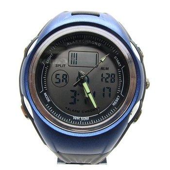 free shipping  men's blue watch 2 Movement watchband sports wrist watch