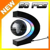 50pcs Free shipping LED power magnetic levitation floating world map 3 inch antigravity globe magic gift