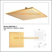 golden color brass shower head 300x300x8mm