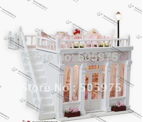 3D miniature dollhouse, baby doll house,puzzle dollhouses ,diy Doll house wooden house model Room decoration(China (Mainland))