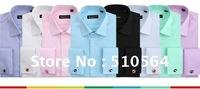 Wholesale Free Shipping Formal Men Shirt Slim Shirt White/Pink/purple/blue/Black Men Shirt Size:M-4XL