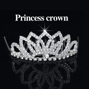 Free Shipping 6pcs/lot Rhinestones Hair Clips Princess Tiara Crown Cute Flower Hair Comb Bridal Hair Accessories for Wedding
