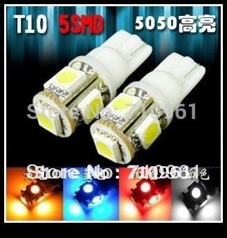 Free shipping wholesale T10 W5W 194 5 SMD LED Car Side Light Bulb Lamp LED Wedge Light Bulb White