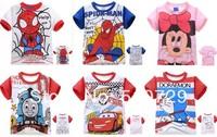 2014 New Baby Tshirts Pure Cotton Summer Clothes Car Spiderman Minnie Thomas Doraemon Tops Fashion Tee of Boy Girl 6pcs/lot kids