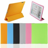 Hot Sales! 10pcs/lot Stand Smart Cover/Case both for the new iPad and for iPad 2, Wake up /sleep/stand function, Free Shipping