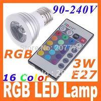 LED Bulb Light IR Remote Control AC 90~240V E27 3W 16 colors Changing RGB LED Lamp free shipping