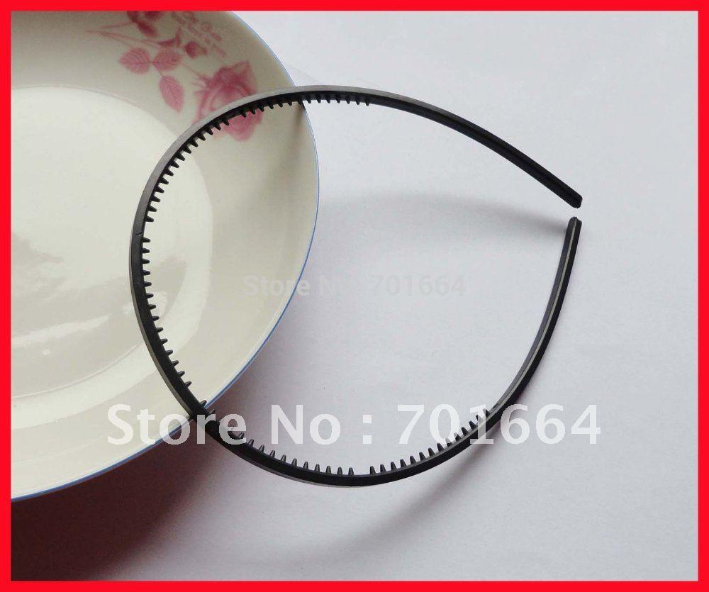 10PCS 4mm black plain plastic hair headbands with small teeth for Kids handmade hair jewelry,BARGAIN for BULK(China (Mainland))