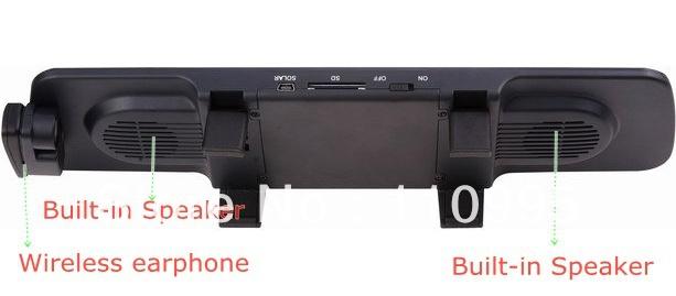 Car rearview mirror, bluetooth handsfree car kit, display caller ID,Built in 2 speakers(China (Mainland))