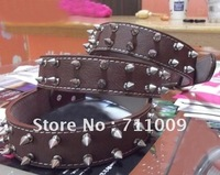Free Shipping Wholesale & Retail Leather Buckle Loop Double Pointed Nails Solid Dog Collar
