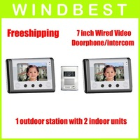 7 inch wired audio and video doorphone/intercom,1 outdoor camera to 2 indoor monitors, ir night vision  , free shipping(1 to 2)