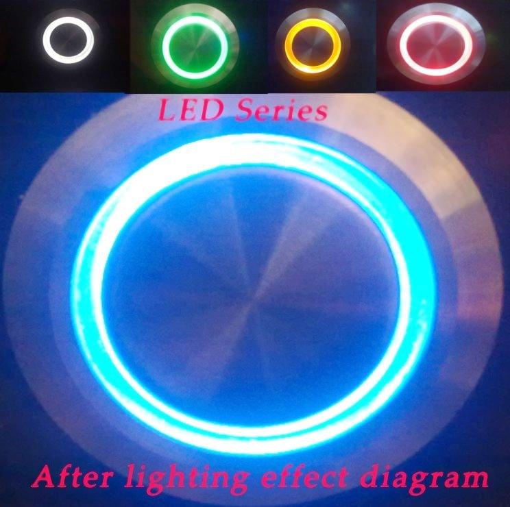 16mm verrouillage led anneau lumineux commutateur de bouton poussoir en métal 1no1nc ronde de haut