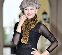 New Arrival real rex rabbit  fur scarf  with fur balls 12 colors Wholesale and retail FS123230115 Free shipping